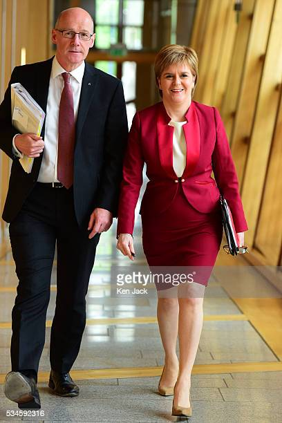Scottish First Minister Nicola Sturgeon on her way to the chamber of the Scottish Parliament to make a statement on her Government's policy programme...
