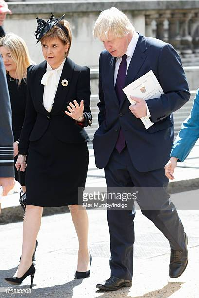 Scottish First Minister Nicola Sturgeon talks with Boris Johnson after attending a Service of Thanksgiving to mark the 70th Anniversary of VE Day at...