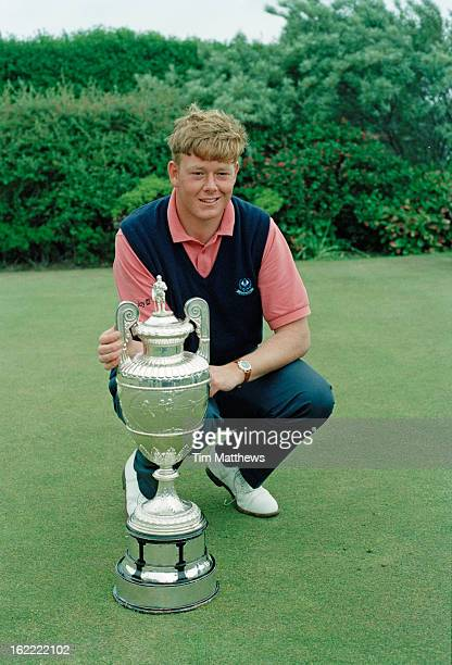 Scottish golfer Gordon Sherry with his trophy at the 1995 British Amateur Championship at the Royal Liverpool Golf Club UK