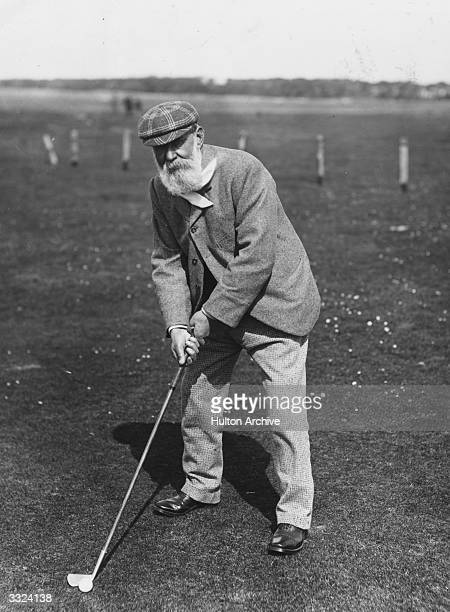 Scottish golfer 'Old' Tom Morris on a golf course 'Old' Tom and his son 'Young' Tom became the only father and son to hold successive Open titles...