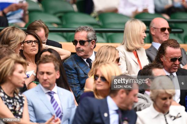 Scottish golfer Sam Torrance sits in the royal box on centre court on day seven of the 2015 Wimbledon Championships at The All England Tennis Club in...