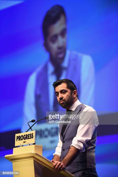 Scottish Government Minister for Transport and the Islands Humza Yousaf delivers a speech on the final day of the Scottish National Party annual...