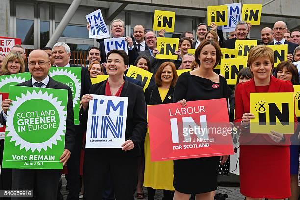 Scottish Green Party coconvener Patrick Harvie Ruth Davidson leader of Scottish Conservatives Kezia Dugdale leader of Scottish Labour and Scottish...