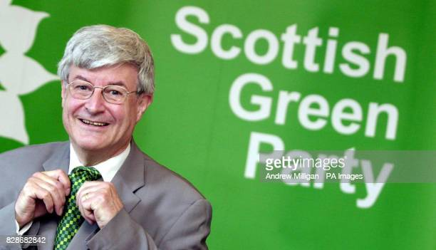 Scottish Green Party leader Robin Harper at his party s first photocall since the Scottish Parliamentary elections last week Monday May 5 2003 Harper...