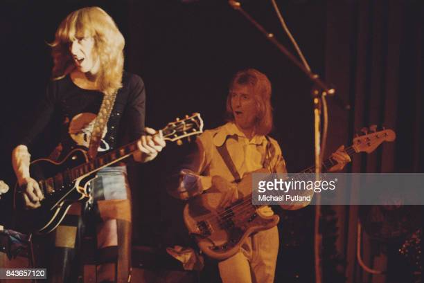 Scottish guitarist Davey Johnstone and bass guitarist Dee Murray performing at Elton John's Christmas show at the Hammersmith Odeon London 21st...