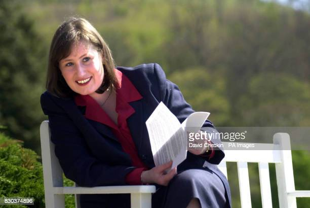 Scottish Health minister Susan Deacon seated outside Peebles Hydro hotel in the Scottish Borders as she looks through her speech The Health minister...