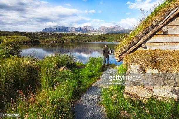 Scottish Highlands: Hiker looking at Quinag mountains