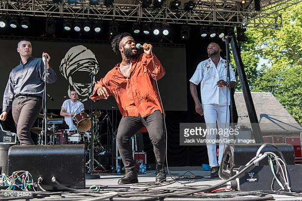 Scottish HipHop and Pop band Young Fathers perform at Central Park SummerStage New York New York July 25 2015 Pictured are Scot 'G' Hastings Liberian...