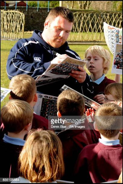 Scottish International Allan Jacobsen takes part in rugby training session during a media day at North Queensferry Primary School Inverkeithing...