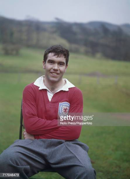 Scottish international footballer and Everton player Alex Scott posed during a training session with the national side in Scotland in 1964