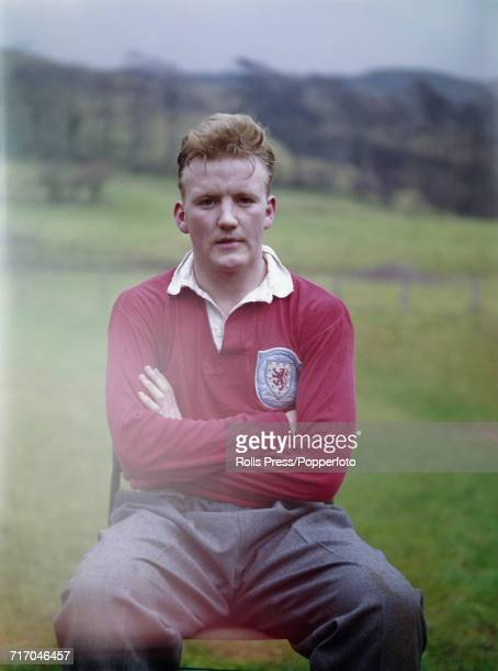 Scottish international footballer and midfielder with Everton Jimmy Gabriel posed during a training session with the national side in Scotland in 1964