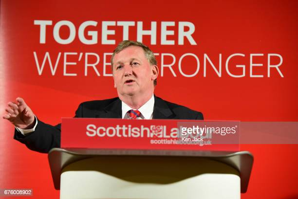 Scottish Labour deputy leader Alex Rowley MSP speaking at a local election campaign event on May 2 2017 in Edinburgh Scotland Local elections are...