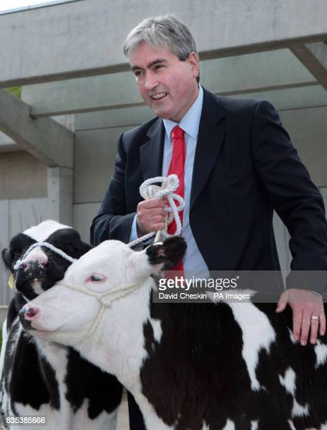 Scottish Labour leader Ian Gray joins farmers who are protesting over falling milk prices outside the Scottish parliament in Edinburgh Prices have...
