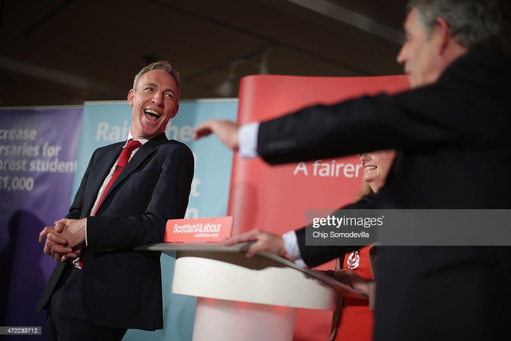 Scottish Labour leader Jim Murphy (L) shares a laugh with former Prime Minister Gordon Brown during a campaign event at the Lighthouse May 5, 2015 in Glasgow, Scotland, United Kingdom. With two days until the the British general election, Scottish Labour is fighting for its life against the Scottish National Party (SNP), which is projected to take a majority of parliamentary seats in Scotland.