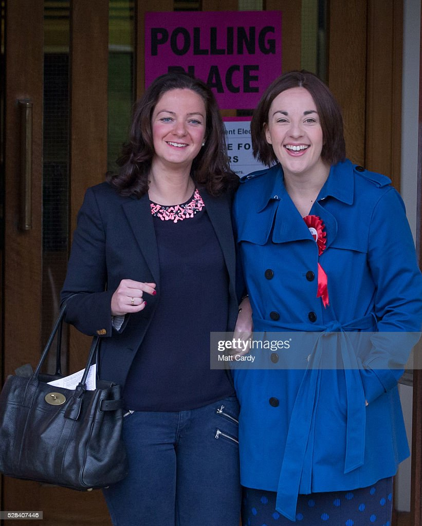 Scottish Labour Leader Kezia Dugdale (R) and her partner Louise Riddell leave St Ninian & Triduana RC Church after voting in the Scottish Parliament elections on May 5, 2016 in Edinburgh, Scotland. Today, dubbed 'Super Thursday', sees the British public vote in countrywide elections to choose members for the Scottish Parliament, the Welsh Assembly, the Northern Ireland Assembly, Local Councils, a new London Mayor and Police and Crime Commissioners. There are around 45 million registered voters in the UK and polling stations open from 7am until 10pm.