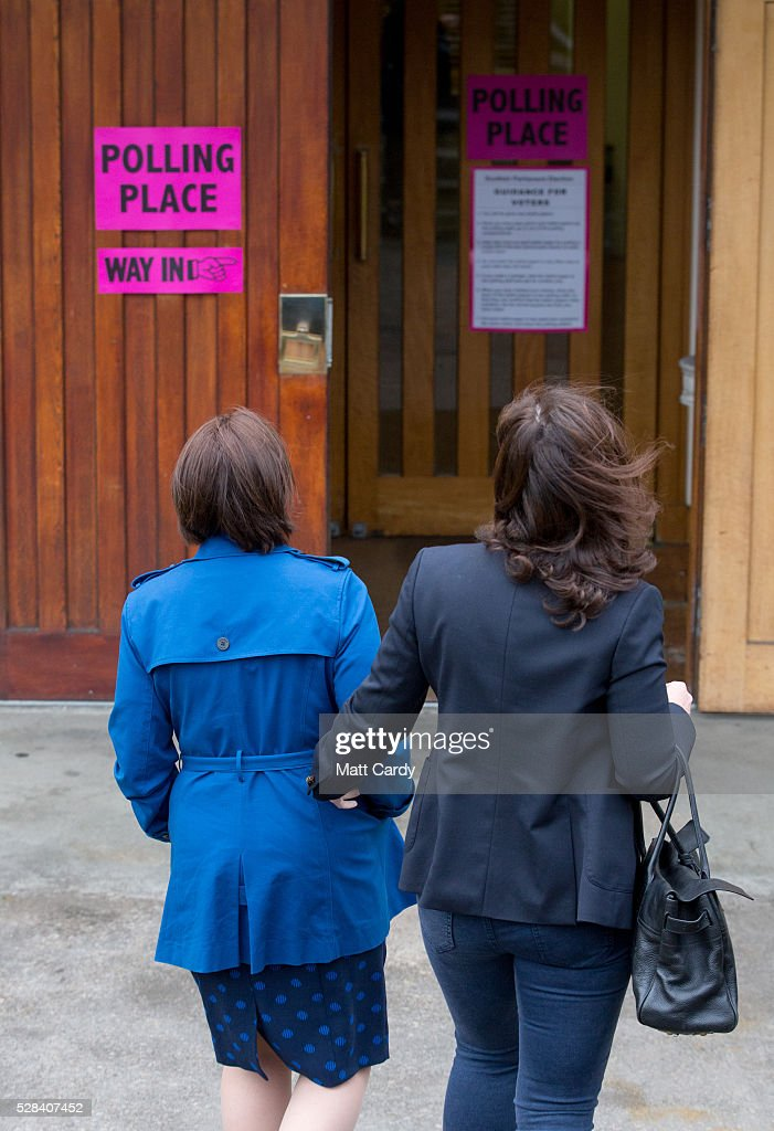 Scottish Labour Leader Kezia Dugdale and her partner Louise Riddell arrive at St Ninian & Triduana RC Church to vote in the Scottish Parliament elections on May 5, 2016 in Edinburgh, Scotland. Today, dubbed 'Super Thursday', sees the British public vote in countrywide elections to choose members for the Scottish Parliament, the Welsh Assembly, the Northern Ireland Assembly, Local Councils, a new London Mayor and Police and Crime Commissioners. There are around 45 million registered voters in the UK and polling stations open from 7am until 10pm.