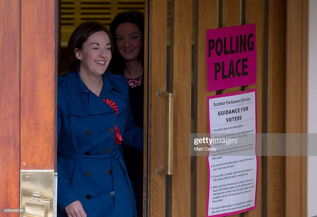Scottish Labour Leader Kezia Dugdale (L) and her partner Louise Riddell leave St Ninian & Triduana RC Church after voting in the Scottish Parliament elections on May 5, 2016 in Edinburgh, Scotland. Today, dubbed 'Super Thursday', sees the British public vote in countrywide elections to choose members for the Scottish Parliament, the Welsh Assembly, the Northern Ireland Assembly, Local Councils, a new London Mayor and Police and Crime Commissioners. There are around 45 million registered voters in the UK and polling stations open from 7am until 10pm.