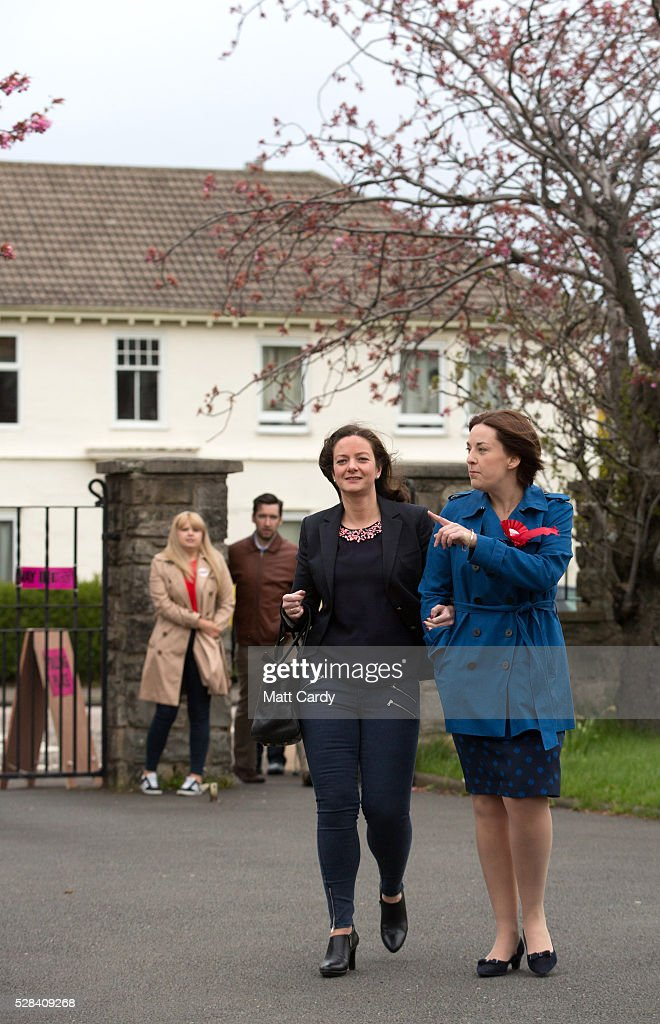 Scottish Labour Leader Kezia Dugdale (R) and her partner Louise Riddell arrive at St Ninian & Triduana RC Church to vote in the Scottish Parliament elections on May 5, 2016 in Edinburgh, Scotland. Today, dubbed 'Super Thursday', sees the British public vote in countrywide elections to choose members for the Scottish Parliament, the Welsh Assembly, the Northern Ireland Assembly, Local Councils, a new London Mayor and Police and Crime Commissioners. There are around 45 million registered voters in the UK and polling stations open from 7am until 10pm.