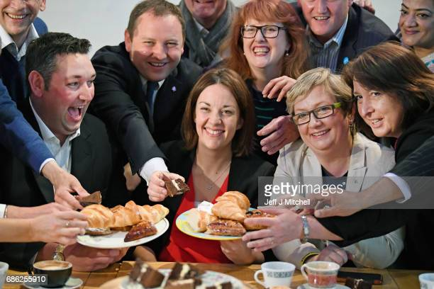 Scottish Labour leader Kezia Dugdale and representatives from the Liberal Democrats the Conservatives and the SNP gather at the Serenity cafe to mark...