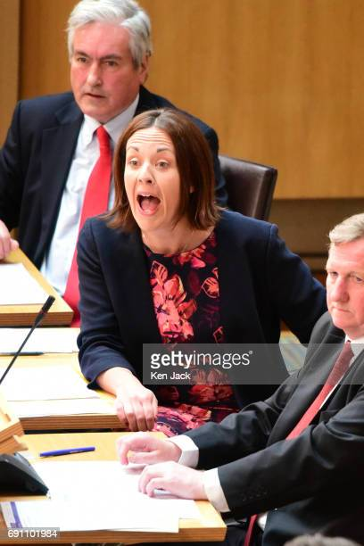 Scottish Labour leader Kezia Dugdale reacts during First Minister's Questions in the Scottish Parliament on June 1 2017 in Edinburgh Scotland