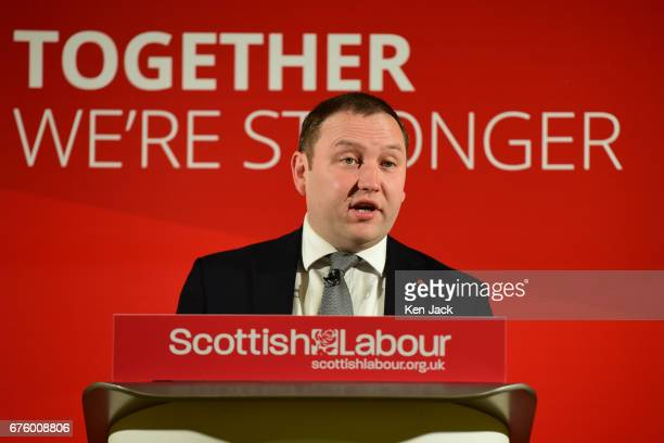 Scottish Labour leader MP Ian Murray speaking at a local election campaign event on May 2 2017 in Edinburgh Scotland Local elections are scheduled to...