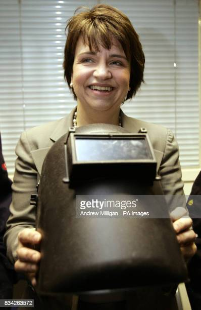 Scottish Labour leader Wendy Alexander with a welder's helmet as she launches Labour's Apprenticeship Bill after meeting apprentices and training...