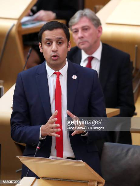 Scottish Labour leadership candidates Anas Sarwar and Richard Leonard during First Minister's Questions at the Scottish Parliament in Edinburgh