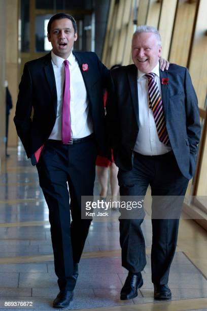 Scottish Labour leadership contender Anas Sarwar shares a joke with SNP MSP Alex Neil on the way to First Minister's Questions in the Scottish...