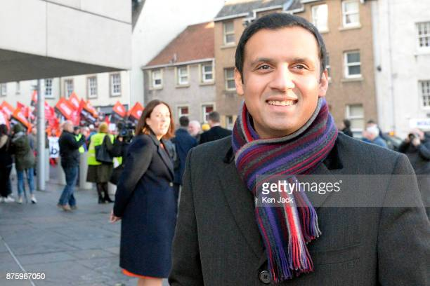 Scottish Labour leadership contender Anas Sarwar with former leader Kezia Dugdale in the background outside the Scottish Parliament supporting a...