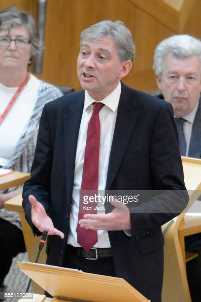 Scottish Labour leadership contender Richard Leonard leads a Members' Debate in the Scottish Parliament on worker ownership on September 28 2017 in...