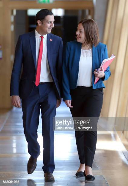 Scottish Labour party leadership candidate Anas Sarwar and former leader Kezia Dugdale arrive ahead of First Minister's Questions at the Scottish...