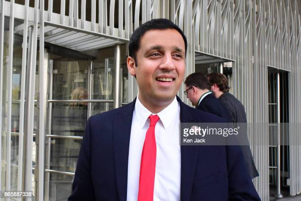 Scottish Labour Party leadership contender Anas Sarwar outside the Scottish Parliament as MSPs debate a ban on 'fracking' on October 24 2017 in...