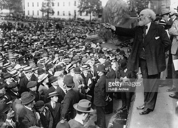 Scottish Labour politician James Keir Hardie addressing a peace meeting in Trafalgar Square London from the plinth of Nelson's Column Keir Hardie was...