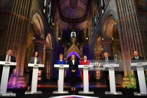UKIP Scottish leader David Coburn Scottish Labour leader Kezia Dugdale Nicola Sturgeon leader of the SNP TV presenter Sarah Smith Scottish...