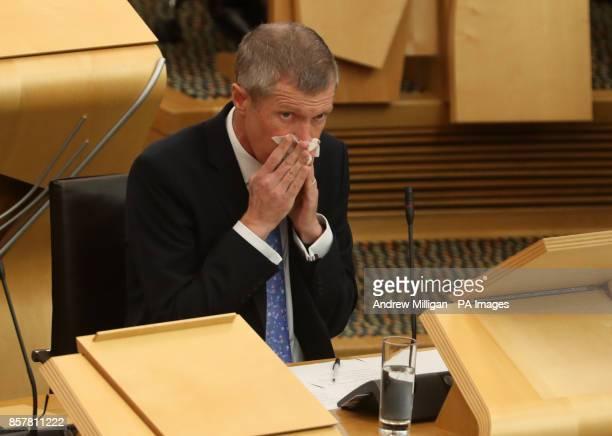 Scottish Liberal Democrat leader Willie Rennie during FMQs at the Scottish Parliament in Edinburgh