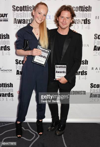 Scottish Model of the Year Jean Campbell and Scottish Designer of the Year Christopher Kane pose after winning during the Scottish fashion invasion...