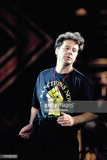 Scottish musician Jim Kerr of Simple Minds performs at a concert held at Wembley Stadium to celebrate the release of African National Congress leader...