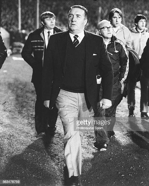 Scottish National Football Team manager Jock Stein walks beside the pitch during the World Cup qualifying match between Scotland and Northern Ireland...