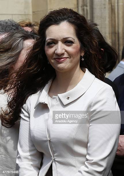 Scottish National Party member of parliament Tasmina AhmedSheikh poses during a photocall with other newlyelected SNP MPs outside the Houses of...