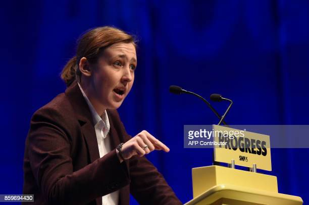 Scottish National Party politician and Member of Parliament Mhairi Black deivers a speech on the final day of the Scottish National Party annual...