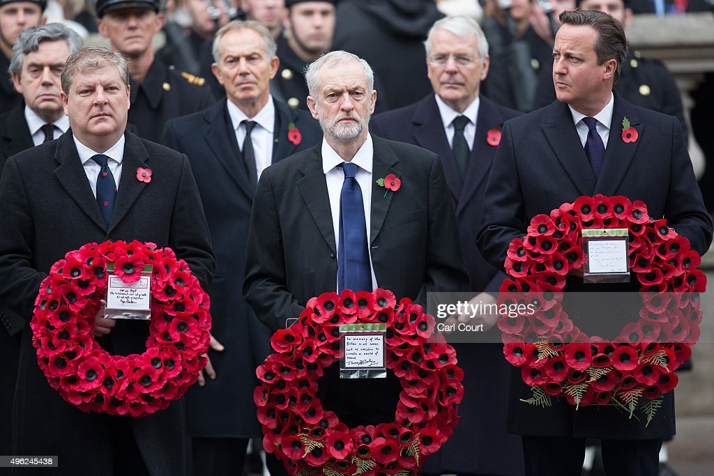 Scottish National Party's Parliamentary Group Leader Angus Robertson Labour leader Jeremy Corbyn and British Prime Minister David Cameron attend the...