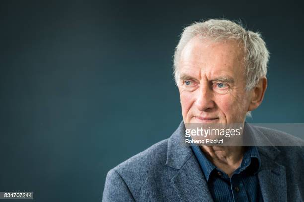 Scottish novelist short story writer playwright and essayist James Kelman attends a photocall during the annual Edinburgh International Book Festival...