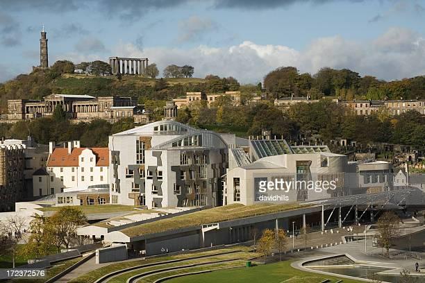 Scottish parliament building and Calton Hill, Edinburgh.