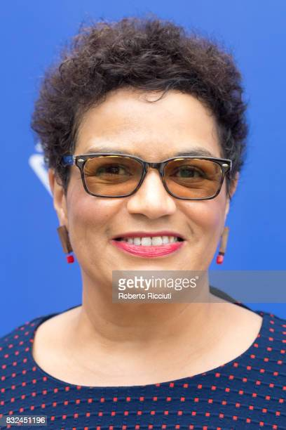 Scottish poet and novelist Jackie Kay attends a photocall during the annual Edinburgh International Book Festival at Charlotte Square Gardens on...