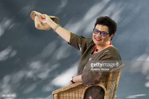 Scottish poet and writer Jackie Kay attends a photocall at Edinburgh International Book Festival at Charlotte Square Gardens on August 17 2016 in...