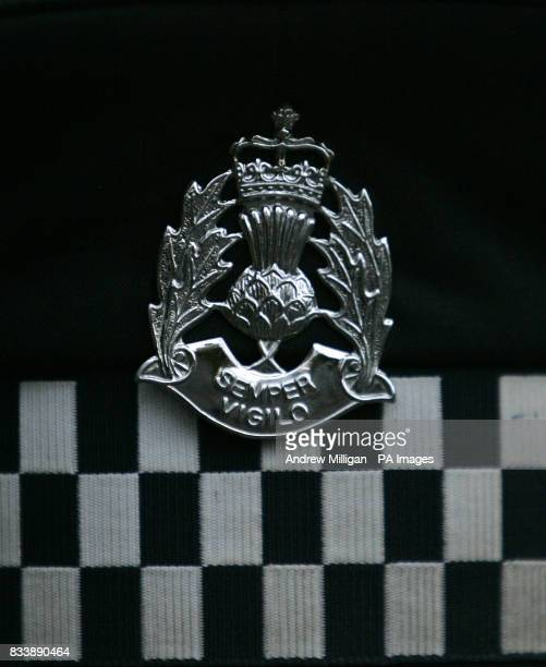 Scottish Police force badge on police hat