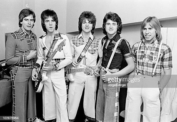 Scottish pop group The Bay City Rollers Alan Longmuir Stuart 'Woody' Wood Eric Faulkner Les McKeown and Derek Longmuir pose for a group portrait...
