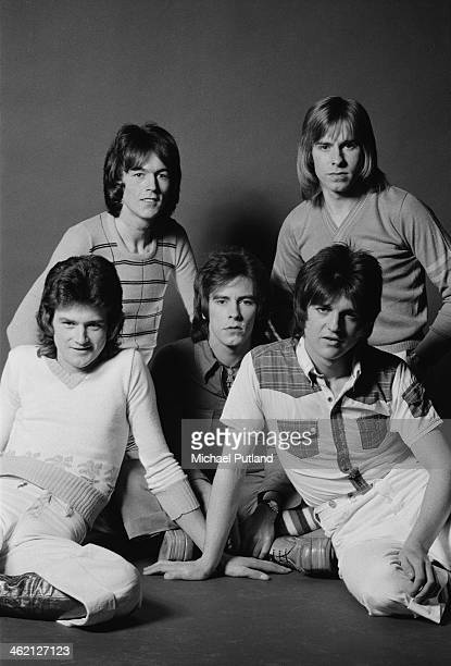 Scottish pop group The Bay City Rollers January 1974 Left to right Les McKeown John Devine Alan Longmuir Eric Faulkner and Derek Longmuir