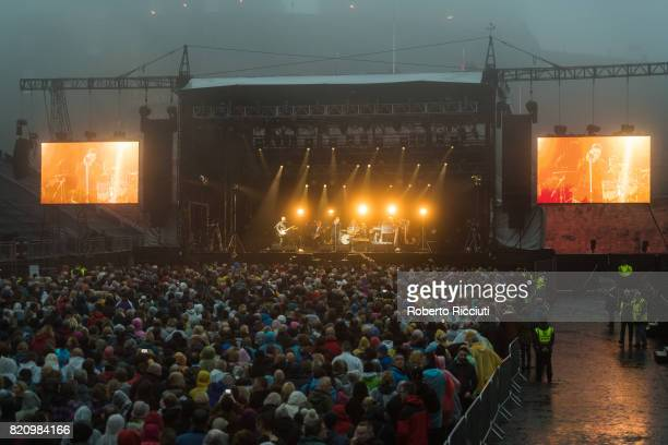 Scottish pop rock band Deacon Blue perform on stage at Edinburgh Castle on July 22 2017 in Edinburgh Scotland