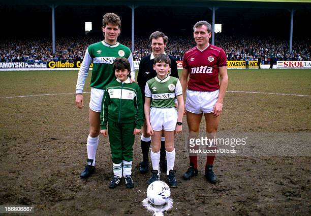 Scottish Premier League Football Hibernian v Hearts of Midlothian Captains Gordon Chisholm of Hibs and Albert Kidd stand with the mascots
